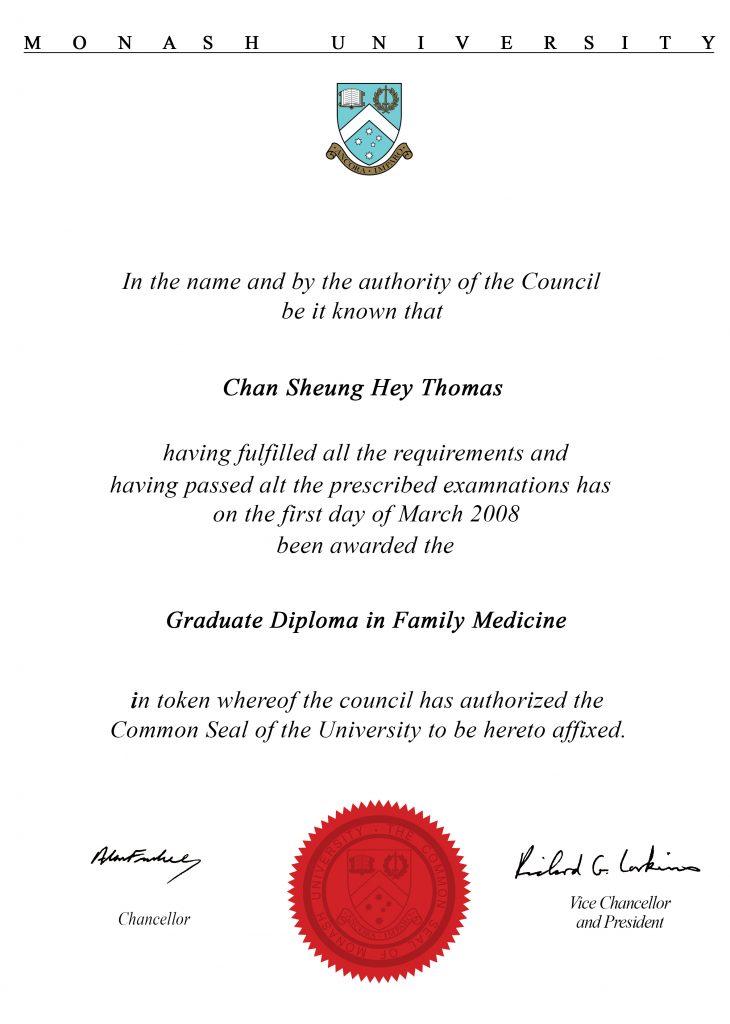 澳洲蒙納士大學家庭醫學文憑